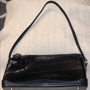 BRIGHTON Black Croc Embossed Satchel.
